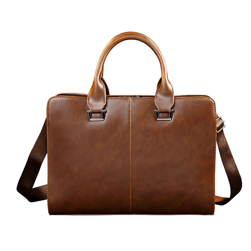 Men Briefcase Laptop-Bag Computer-Packs Messenger Shoulder Office Business Faux-Leather