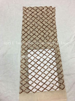 aa002 7 rose gold newest best quality grid paillette pattern net mesh lace fabric for wedding party