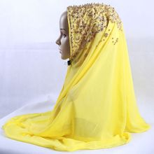Summer Premium Chiffon Scarves Wraps Gold Glitter Pearl Muslim Hijabs Shawl Women Headscarf Head Caps Islamic Voile 70*170cm 1pc