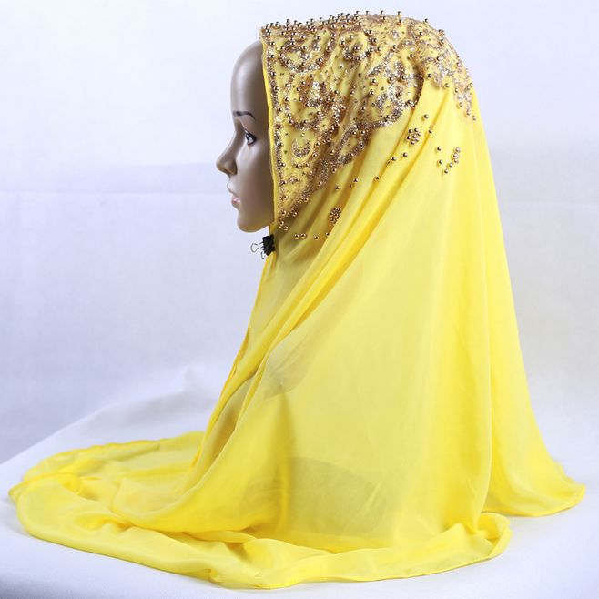 Summer Premium Chiffon   Scarves     Wraps   Gold Glitter Pearl Muslim Hijabs Shawl Women Headscarf Head Caps Islamic Voile 70*170cm 1pc