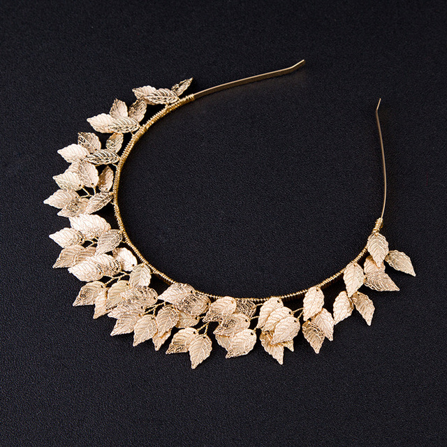 Idealway Women Lovely Hair Accessories Gold Color Leaf Tiara Crown Hairbands Wedding Headdress Decoration Bridal Girl Jewelry