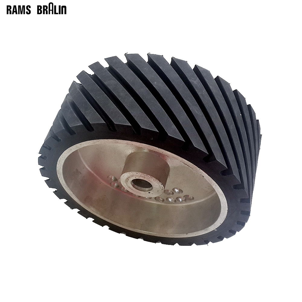 250*100*25mm Grooved Rubber Contact Polishing Wheel Belt Sander Grinder Polisher Wheel Dynamically Balanced 300 50mm flat belt grinder contact wheel dynamically balanced rubber polishing wheel abrasive sanding belt set