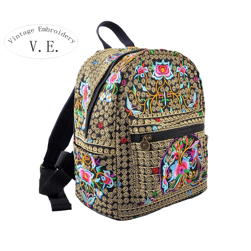 National Vintage canvas embroidery Ethnic backpack women handmade flower Embroidered Bag Travel Bags schoolbag backpacks mochila