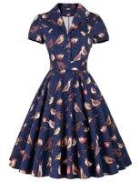 Vintage Short Sleeve Birds Pattern Cotton Party Picnic Dress floral printed party sexy women a line dress Retro garment autumn