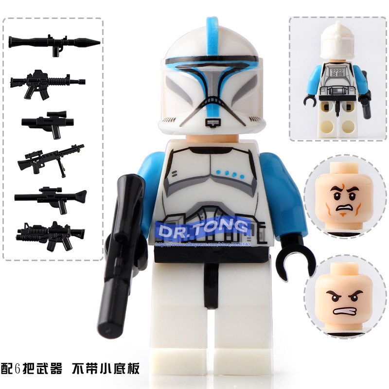 DR.TONG Single Sale Star Wars Clone Troopers Blue Soldiers White Soldiers Building Blocks Bricks Diy Toys Children Gifts