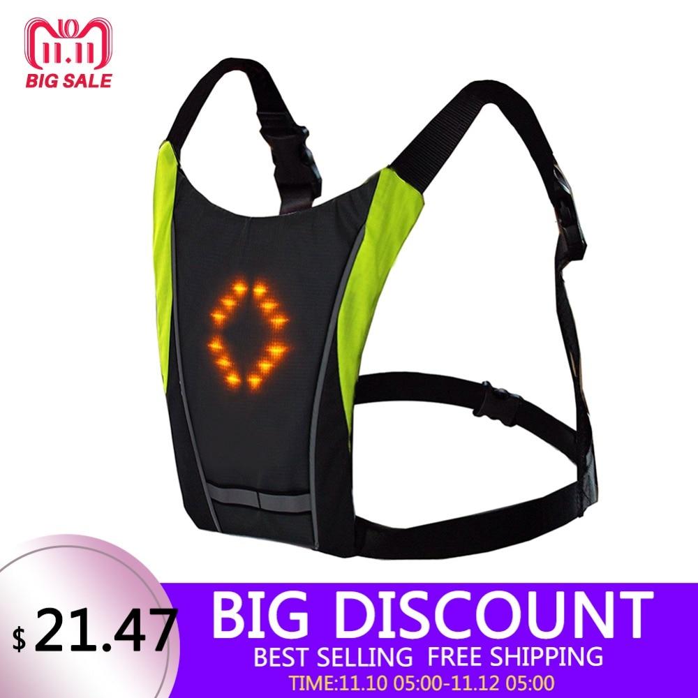 Chaleco reflectante de seguridad de conducción impermeable al aire libre 48 LED Chaleco de señal de giro al aire libre correr de noche caminar ciclismo chaleco mochila