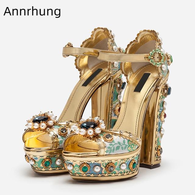 Tacón Brillante Decoración Imitación Zapatos Grueso Lujo Perla Boda Escenario Bordado Tacones De Diamantes Cristal Mujeres Plataforma Sandalias 4Ajq5L3R