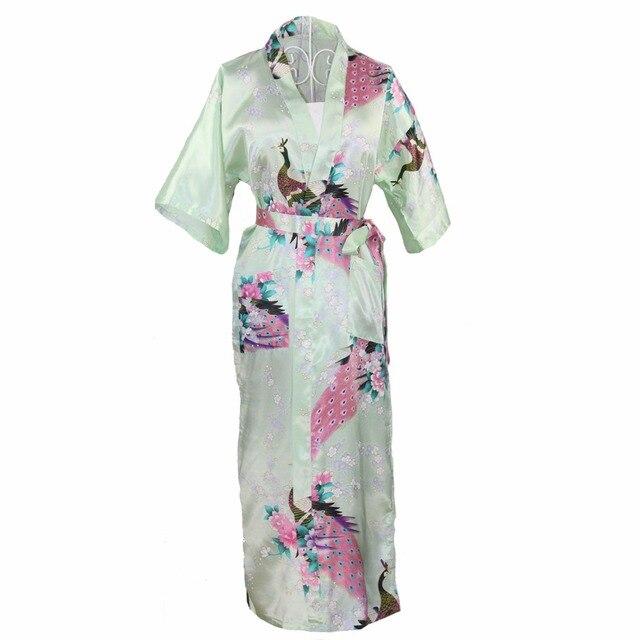 Долго Стиль Китайских Женщин Атласная Ночная Рубашка Пижамы Невесты Свадебное Одеяние Платье Цветочным Принтом и Павлин Кимоно Платье Плюс Размер XXXL