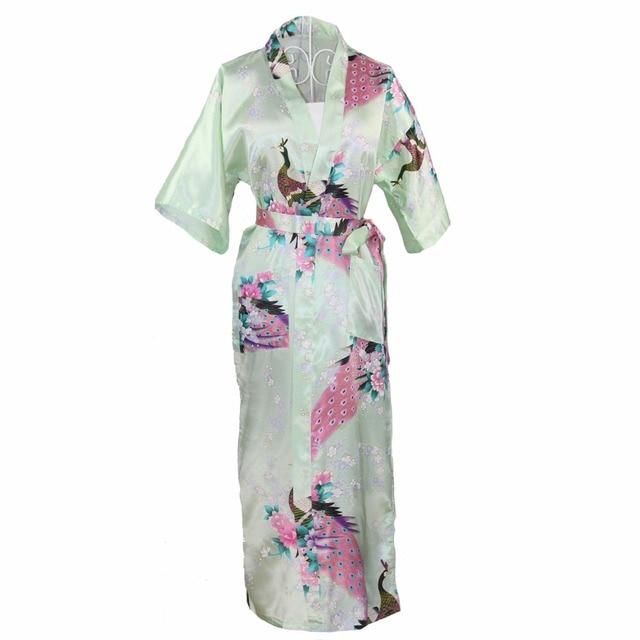 Long Style Chinese Women Satin Nightgown Sleepwear Brides Wedding Robe Dress  Print Flower Peacock Kimono Gown Plus 88d59696a