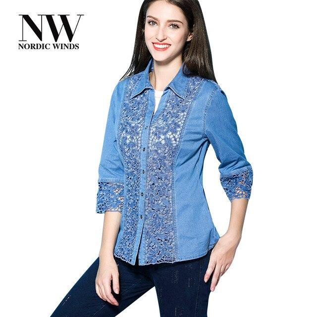 6c2849777fc Nordic Winds Women Tops Shirts Floral Blouse Embroidered Jeans Blouse 2017  Elegant Ladies Denim Lace Shirt Women s Plus Size 4XL