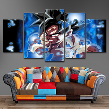 Wall Art Canvas Poster 5 Panel Dragon Ball Super Painting Modular HD Printed Goku Limit Break Pictures Living Room Decor Framed