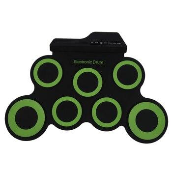 Портативный электронный барабан цифровой USB 7 колодки рулон барабана набор силиконовые электрические барабанные колодки комплект с бараба...