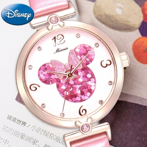 Image 4 - Women Lovely Pretty Smart Minnie Cuties Watch Girl Beautiful Pink Leather Strap Quartz Clock Gift Luxury Crystal Youth Lady Time
