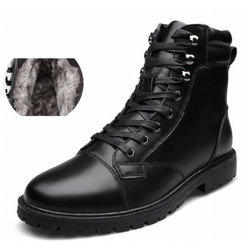где купить Mens Fashion Genuine Leather Martin Boots Army Boots Mens Military Desert Boot Snow Warm Shoes Men Autumn Motorcycle Ankle Boots по лучшей цене