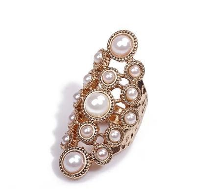 New Fashion Simple And Golden imitation pearl Metallic Hollow Jewelry Rings For Women Wholesale YY731 Jewellery ABC