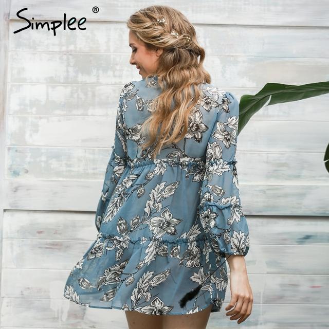 Simplee Boho Floral Print Tassel Women Dress