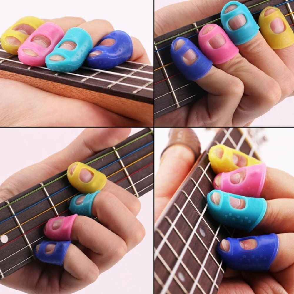 5Pcs Silicone Guitar Thumb Finger Picks Protector Plectrum Fingertip thimble Finger Guard safety protect caps Colors Random5Pcs Silicone Guitar Thumb Finger Picks Protector Plectrum Fingertip thimble Finger Guard safety protect caps Colors Random