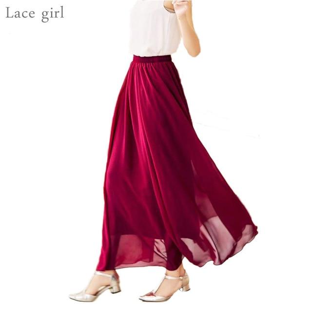ed887f358 Las mujeres de cintura alta elegante de gasa elástico de la cintura Falda  larga Casual Maxi faldas párr Tallas grandes/80/90/100 cm 22 Color 2018 ...