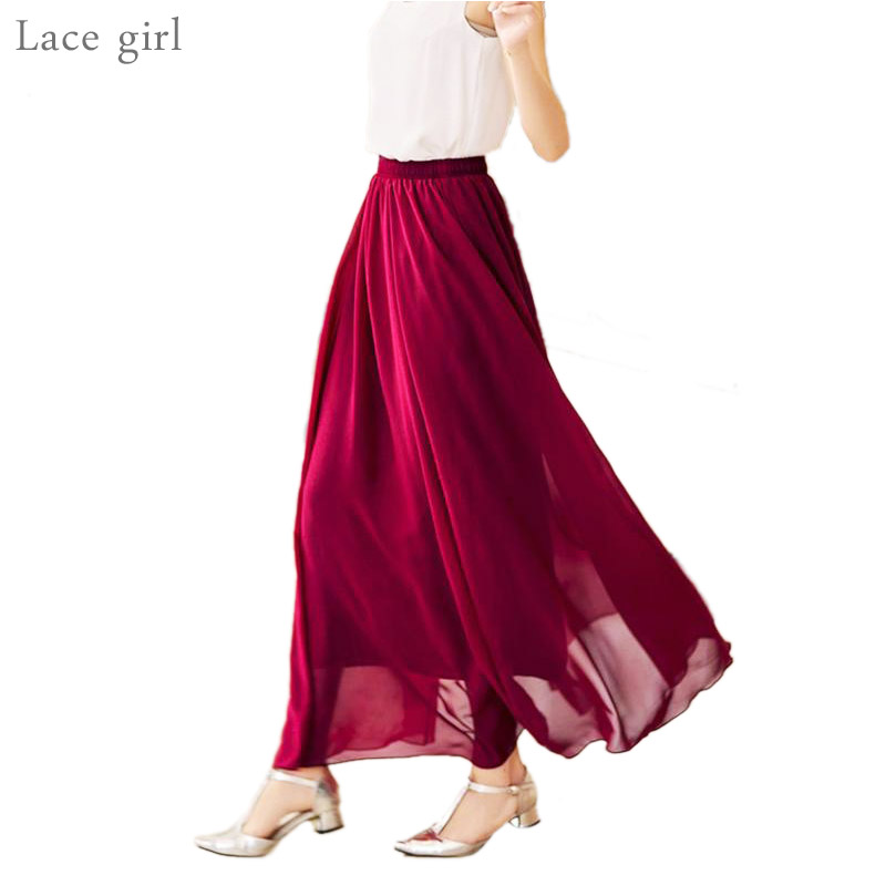 Women's Elegant High Waist Chiffon Skirt Elastic Waist Casual Long Maxi Skirts Saias 80/90/100cm 22 Color 2018 Summer Autumn New