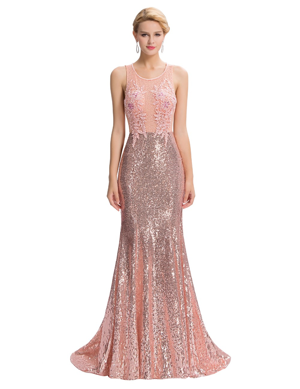 Elegant Pink Sequin Floor Length Backless Lace Mermaid Evening Dress 2