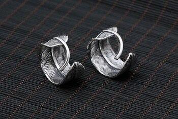 Silber 925 Feder Ring Männer Frauen Mit Blau/Grün Teurquoise Stein 100% Echt Sterling Silber 925 Material Handgemachte Handwerk Schmuck