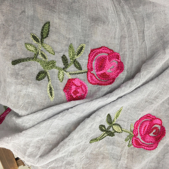 Luxury Brand Long Embroidered Scarf Women Cotton Scarves Shawls Rose Flower Embroidery Scarf Muslin Viscose Hijab Foulard Femme
