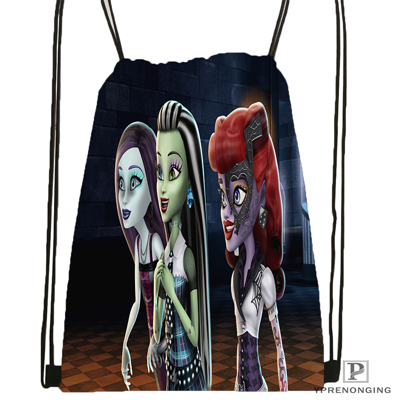Custom Monster High Cartoon Drawstring Backpack Bag For Man Woman Cute Daypack Kids Satchel (Black Back) 31x40cm#180531-01-43