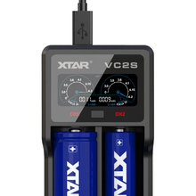 XTAR VC2 S VC2S Colorful VA LCD Screen Micro USB powered  portable power bank apply to 3.6V/3.7V Li ion/IMR/INR/ICR 18650 26650