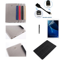 Ultra Slim 3 Fold Transparent Cover Stand PU Leather Case OTG Stylus Pen Screen Film For
