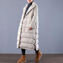 Зимнее модное Брендовое двубортное очень длинное пуховое пальто, женские элегантные теплые пуховые парки в стиле ретро, wq695, Прямая поставка