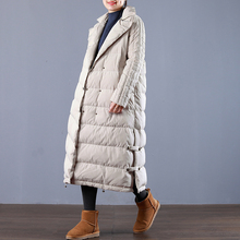 Winter fashion brand double breasted super longer duck down coat