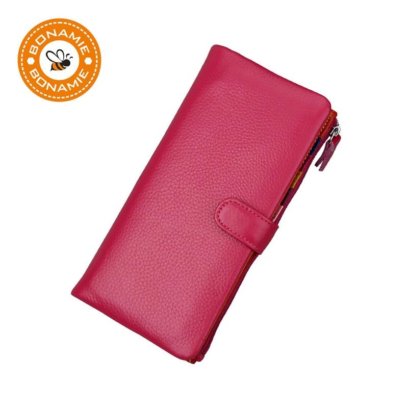 BONAMIE Brand Luxury Genuine Leather Women Long Wallet Purse RFID Card Holder Female Casual Big Capacity Clutch Wallet Phone Bag