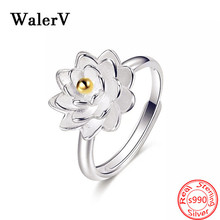 High Qualit 100% S990 Sterling Silver Fashion Lotus Flower Finger Opening Rings for Women 925 Wedding Jewelry