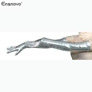 "Image 5 - Ensnovo Women Spandex Polyester Black Shiny Metallic 22"" Long Sleeve Cosplay Costumes Wet Look Opera Length Evening Gloves"