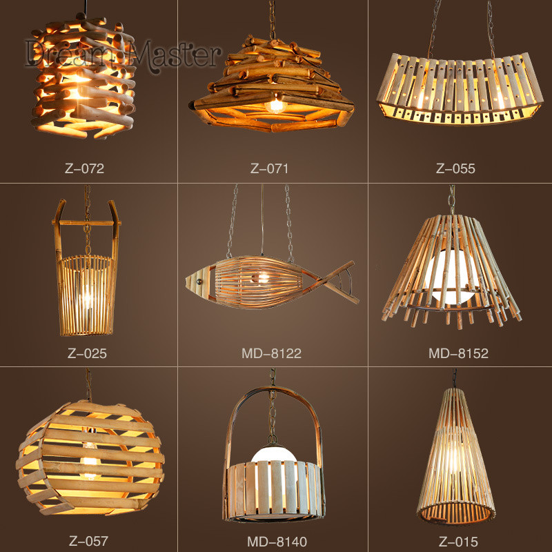 Chinese style creative personality bamboo and rattan chandeliers restaurants coffee shops retro bars bedroom Japanese chandelier|Pendant Lights| |  - title=