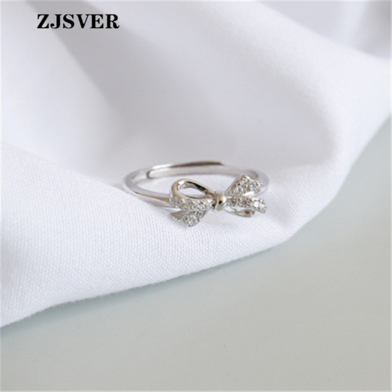 ZJSVER Fine Jewelry 925 Sterling Silver Rings Fashion Simple Micro-set Crystal Bowknot Opening Women Ring For Festival Present(China)
