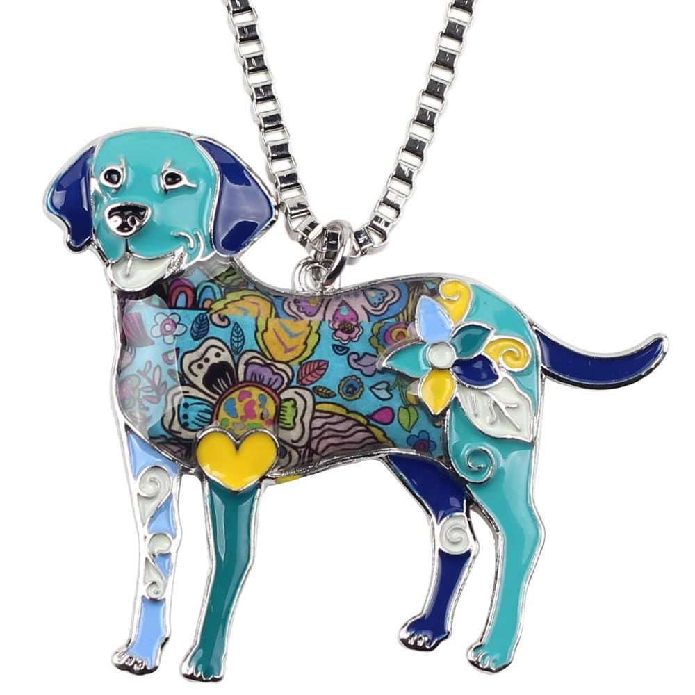 Bonsny Statement Maxi โลหะผสมเคลือบ Labrador สุนัข Choker สร้อยคอจี้คอ 2017 เครื่องประดับแฟชั่นใหม่ผู้หญิง