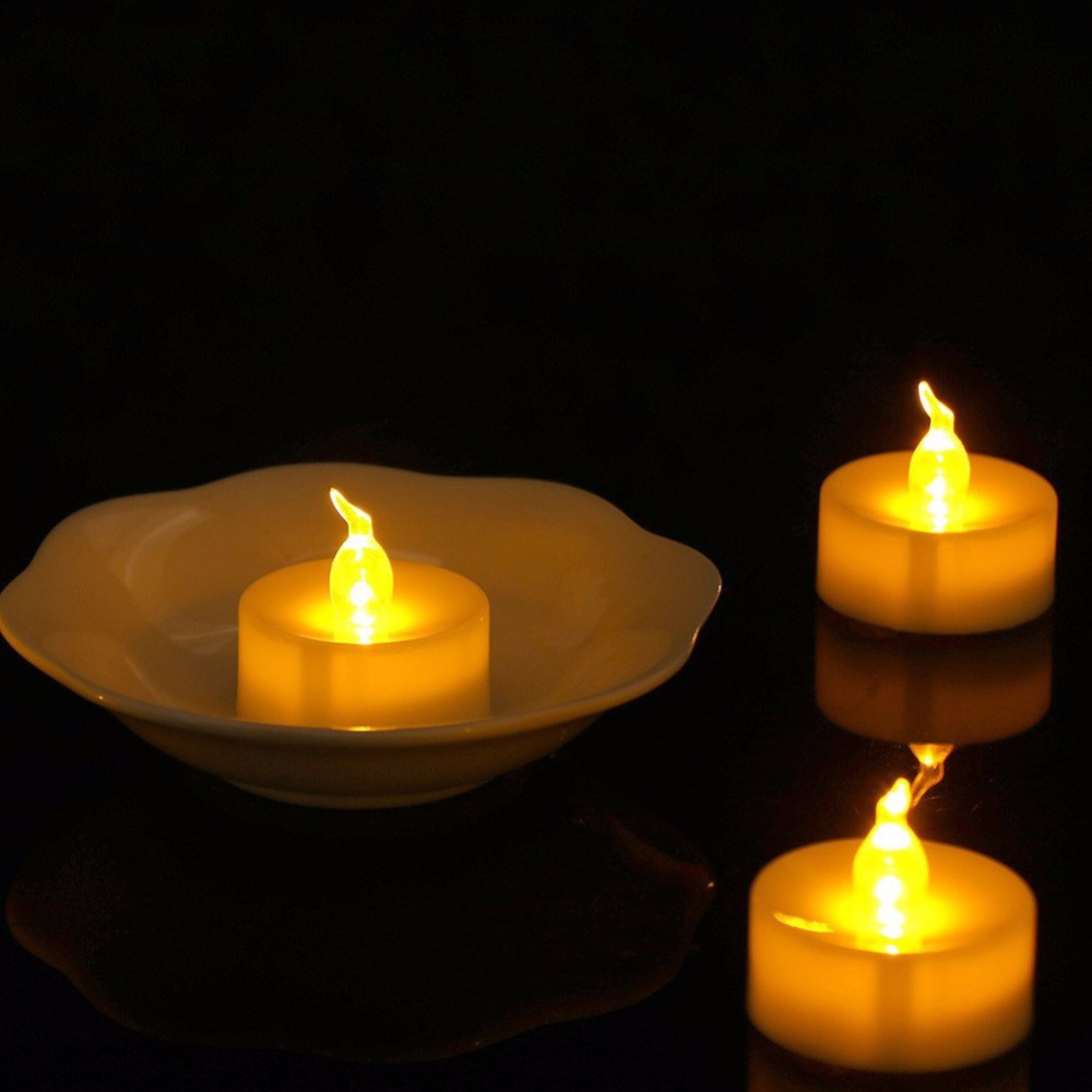 Pack of 12 Yellow Battery Tea Lights Flickering Electronic Battery-powered Tealight Candles Christmas Lights fake mumlar For Dec