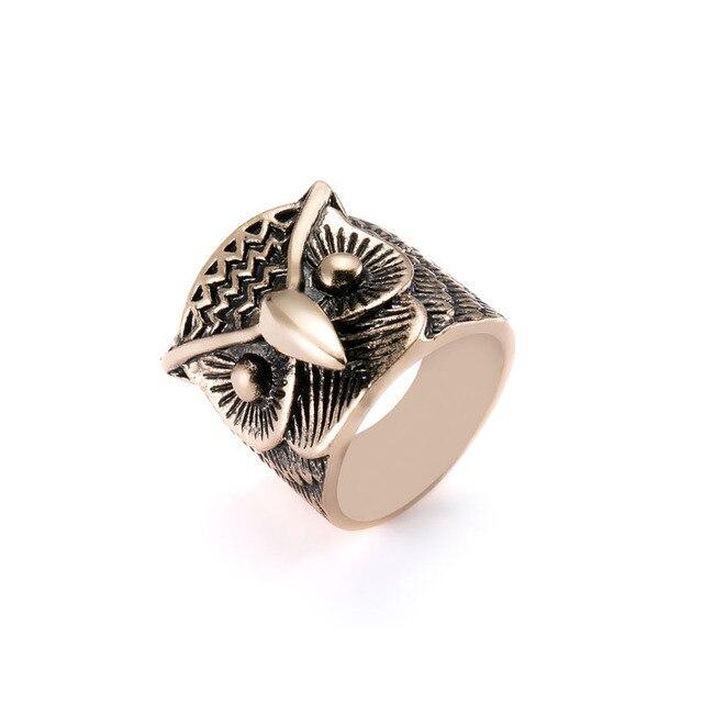 2017 Retro Rings for Men Rose GoldSilver Ring Fashion Big Owl Rings