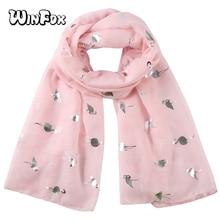Winfox Fashion Pink White Glitter Scarf Flamingo Female Foil Silver Bird Beach Shawl Stole Scarves For Ladies Women