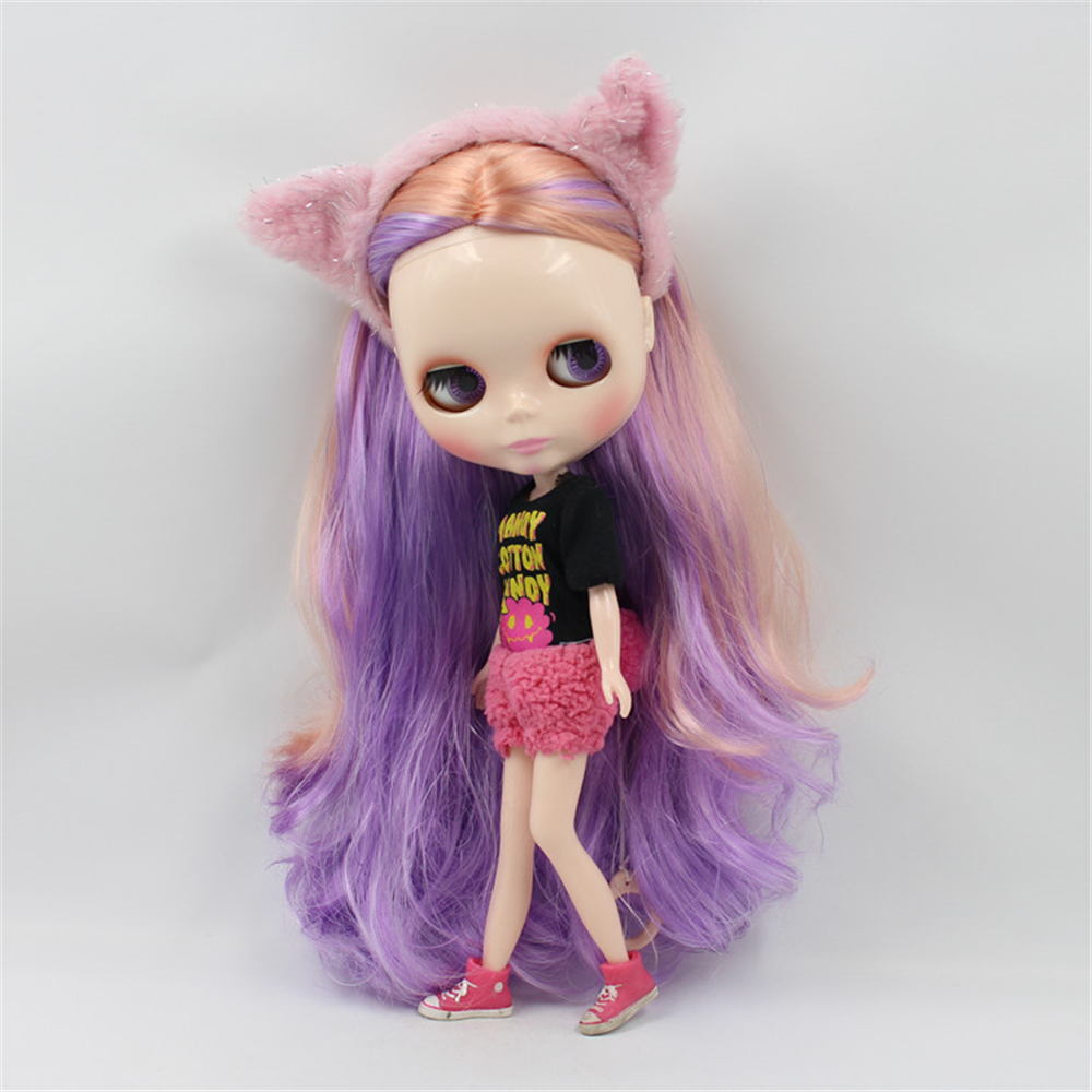 Blyth Doll Nude normal body Mixed Color Hair Orange & Pueple Wavy Hair Big Eyes Suitable DIY makeup doll toys blyth nude doll joint body with long wavy white hair 4 colors big eyes 1 6 bjd blyth dolls suitable diy makeup toys