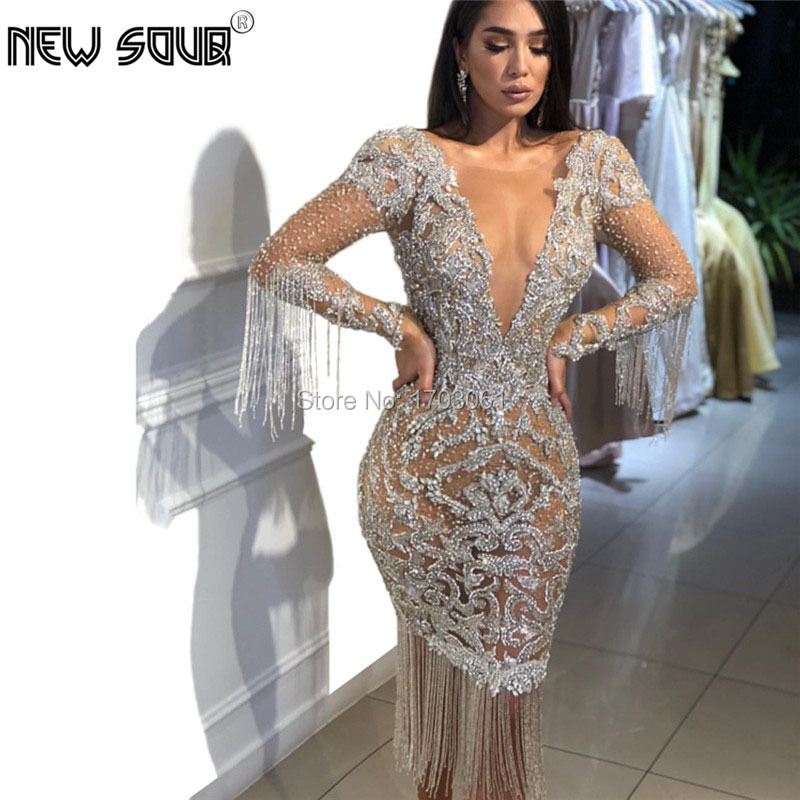 Dubai Beading Evening Dresses 2019 Tassel Abendkleider Rhinestone See Through Prom Dress Crystal Party Dress Vestidos Kaftans