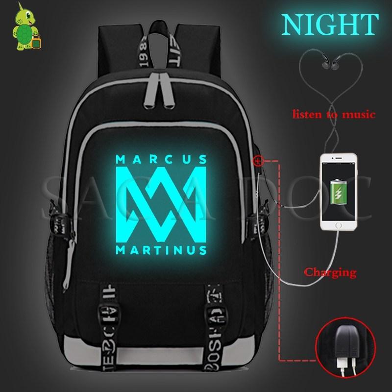 Marcus&martinus Luminous Multifunction Backpack USB Charging Laptop Backpack Teenage Boys Girls School Bag Casual Travel BagpackMarcus&martinus Luminous Multifunction Backpack USB Charging Laptop Backpack Teenage Boys Girls School Bag Casual Travel Bagpack
