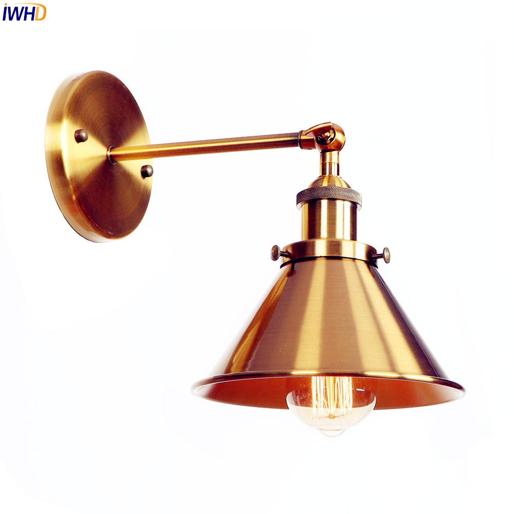 IWHD Golden Loft Retro Wall Light Fixtures Bathroom Mirror Stair Iron Metal Adjustable American Vintage Wall Lamp Sconces Edison