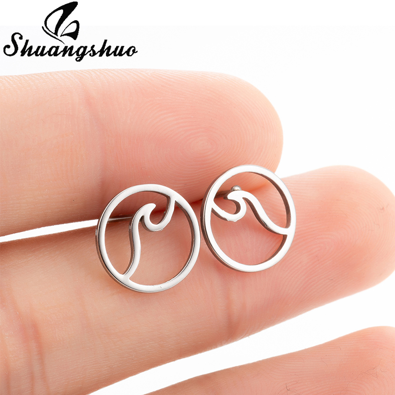 Shuangshuo Tiny Simple Round Wave Earrings for Women Stainless Steel Stud Earrings Fashion Jewelry Ear Studs Pendientes Brincos image