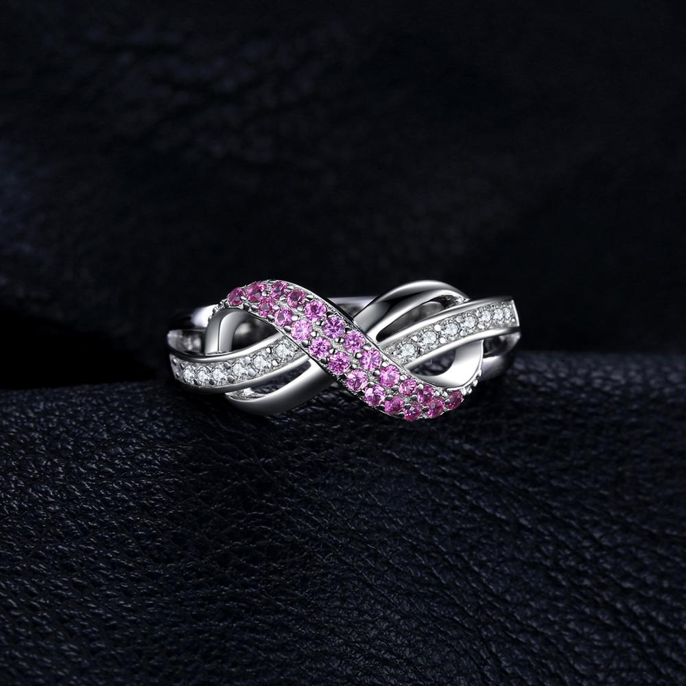 Image 2 - JewelryPalace Infinity Created Pink Sapphire Ring 925 Sterling 