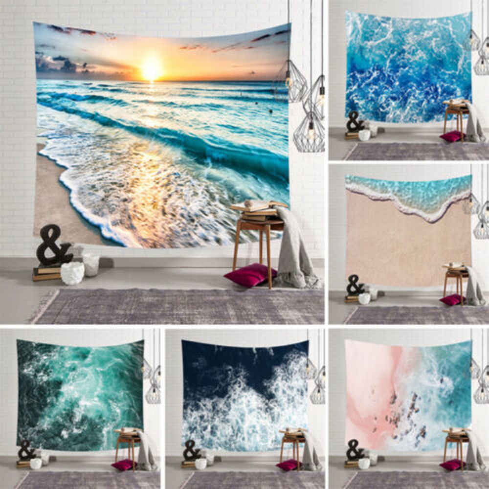 Cartoon Sea Waves Art Hanging Wall Hippie Tapestry Home Decor Yoga Beach Towel Home Decoration Wall Stick Sea Wall Stick