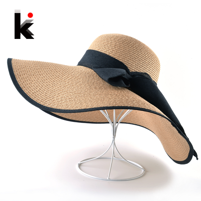 Fashion Straw Hat For Women Summer Casual Wide Brim Sun Cap With Bow-knot  Ladies Vacation Beach Hats Big Visor Floppy Chapeau 6e2c27e1d8ba