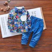 Crianças da criança menino roupas casuais conjunto para meninos do bebê cavalheiro floral primavera outono manga longa t camisa + calças outfits 2 3 4 anos