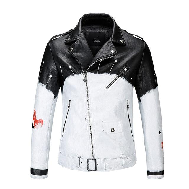 2017 New Men's Fashion Design Black and White Painting Motorcycle Leather Jacket blouson homme Rock Bomber jackets Jaqueta